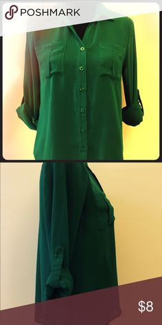 Green With Envy Sheer button down blouse with rolled sleeves. Dress it up or down but either way you'll be the talk of the town! Pair it with a pencil skirt or skinny jeans and your sexiest pair of heels! ;) Tops Button Down Shirts