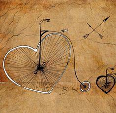 """""""Old Bikes-Hearts"""" de Juri Romanov, artiste d'origine russe. Ses dessins sont faits à la plume, encre de chine, crayon, huile, peinture acrylique ou aquarelle. Soucieux de l'environnement, il n'utilise que du papier et des matériaux recyclés. Acheter ses dessins : http://www.artollo.com/"""