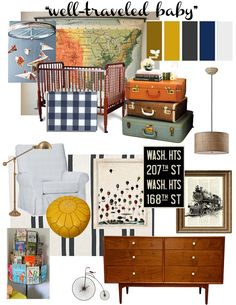 """""""Well-Traveled Baby"""" Boy Nursery...can't imagine a more fitting nursery for future baby Ernest!"""