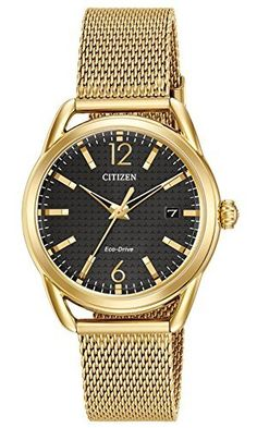 Ladies Drive from Citizen EcoDrive LTR Black Dial and GoldTone Stainless Steel Watch FE608259E * Check out the image by visiting the link. Note: It's an affiliate link to Amazon