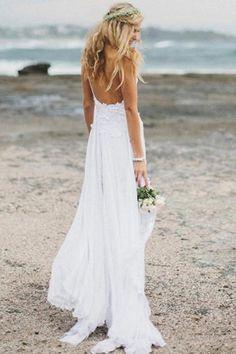 White Lace Side Slit Simple Spaghetti Wedding Dresses For Beach Wedding,M32