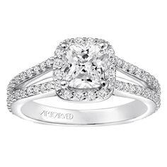 Classic diamond halo with split shank engagement ring by ArtCarved Bridal. Split Shank Engagement Rings, Halo Diamond Engagement Ring, Rings Cool, Bridal, Classic, Jewelry, Derby, Jewlery, Jewerly