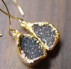 Charcoal Agate Druzy Earrings 14k Gold