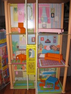 Barbie Townhouse, with the elevator on the side that you pulled up with a string - oh yeah!