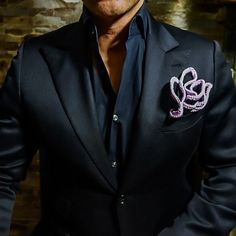 Let's be real... Who needs a tie when you got this?? Satin Black Center with Lavender Signature Border. Be Bold™ @thepocketsquareindustry @thepocketsquareindustry @thepocketsquareindustry