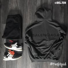 "11.9k Likes, 60 Comments - Outfitgrid™ (Outfit Grids) on Instagram: ""Today\'s top #outfitgrid is by Dan Lunderville.ten. ▫️ #Balenciaga #Hoodie & #Sweatpants ▫️ #Nike x #OffWhite…"""