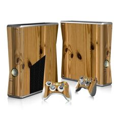 Wood Board Xbox 360 Slim Skin Decal For Console And 2 Controllers
