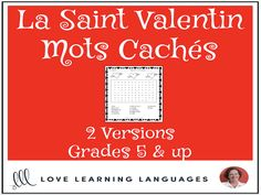 Primary French - Valentine's Day Word Search - Mots Cachés - La Saint ValentinThis literacy center or independent work activity for primary core French or primary French immersion is an easy, no-prep, black and white, print it . Valentines Day Words, Valentines Day Activities, Everyday Activities, Work Activities, Core French, Teacher Boards, French Resources, French Teacher, French Immersion