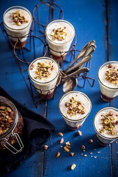 Yogurt and pistachio mousse