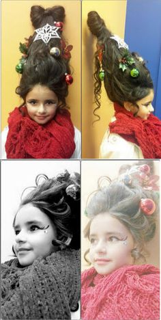 Holiday themed hairstyle - Dr. Seuss - Who family - Christmas Tree