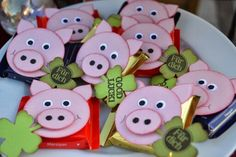 Glücksbringer / lucky charms. A little something to make them squeal with delight! Pig snacks for a pig care package- treats to go hog wild over.