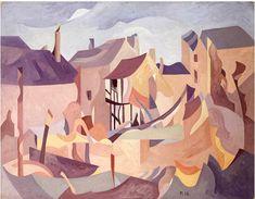 #Peter #Humphrey #Bomb damaged #houses #Coventry, circa 1942  #Signed with initials #art #Britishart #modernart #war #warart #oilpainting #LLFA 23 November, Cubism, Coventry, Abstract Landscape, Ww2, The Twenties, Modern Art, Pop Art, British