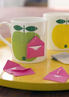 tea-bag messages. Could possibly make to send to mums who are missed. There's a link to make up the mini envelopes. Could also include an additional msg/verse/quote inside the envelope.