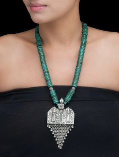 Buy Silver Turquoise Tribal Necklace Semi Precious Stone Cotton Thread Online at Jaypore.com