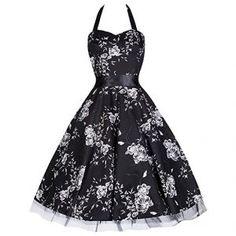 Black White Floral 1950s Swing Emo Prom Dress