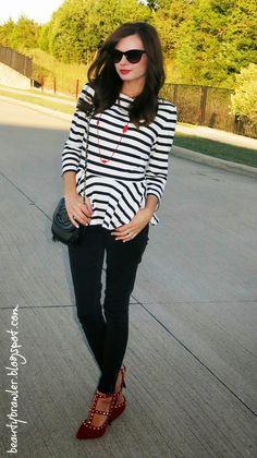 Minimalist fashion at #beautybrawler blog! @Forever 21 #peplum shirt and @dots heels
