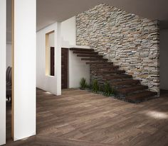 Rustic walls & floors photos by jeost arquitectura i homify Interior Stairs, Home Interior Design, Interior And Exterior, Stair Walls, Modern Stairs, House Stairs, Creative Walls, Staircase Design, My Dream Home