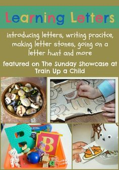 Learning Letters - Hands on activities for learning letters, writing practice, sound reinforcement and more featured on The Sunday Showcase  at Train up a Child.
