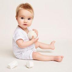 Sweet little Noa! Wearing our hello world growsuit. #wilsonandfrenchy #spring2016 #unisex #babyfashion #melbournelabel