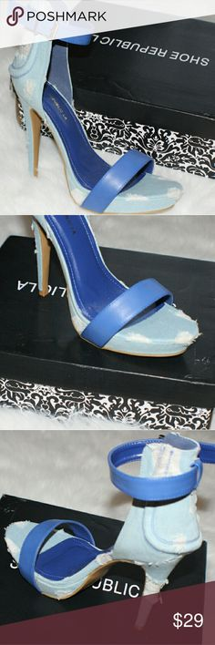 Denim Platform Sandal Denim platform sandal with destroyed detail and blue leather straps. New in box Shoes Heels