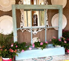 Use for an old window frame.  Add box for a planter (A Cultivated Nest blog)