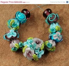 On Sale Glass Lampwork Beads Amethyst Aqua Flower by carolynsbeads, $26.40