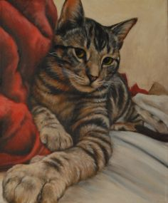 Custom Pet Portrait Tabby Cat Painting by FeatherStonePortrait, $250.00