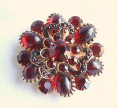 Vintage Garnet Red Rhinestone Brooch by CamanoIslandVintage, $62.50