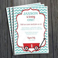 Little Red Wagon Birthday Invitation - FREE Thank You Card included $15 #wagonparty #wagoninvitation