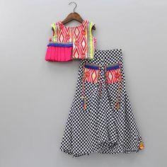 Pre Order: Check Dhoti Skirt With Embroidered Half Peplum Choli Stylish Dresses For Girls, Frocks For Girls, Dresses Kids Girl, Kids Outfits, Baby Dresses, Kids Indian Wear, Kids Ethnic Wear, Kids Dress Wear, Kids Wear
