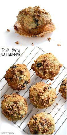 These big, moist, and fluffy Triple Berry Oat Muffins are a real treat for breakfast and boast the goodness of rolled oats. Step by step photos. @budgetbytes