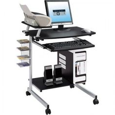 Portable Laptop Table Desk Stand Mobile Computer Office Work Station Lock  Wheels