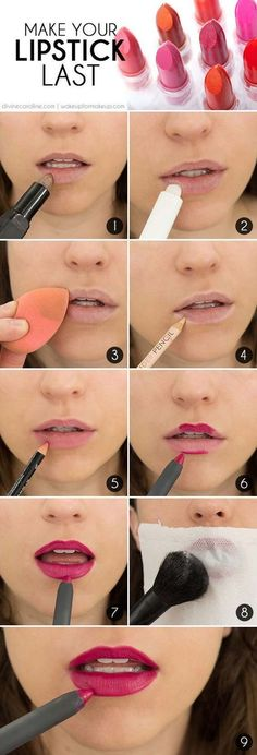 Lipstick Tutorials - Best Step by Step Makeup Tutorial How To - The Secret to Long-Lasting Lipstick - Easy and Quick Ways to Apply Lipstick and Awesome Beauty Ideas - Cool Ideas for Teen Makeup for School, Party and Special Occasion - Makeup Tutorials for Beginners - Lip Liner Tips and Tricks to Add Volume, DIY Lip Techniques for Fuller Lips - DIY Projects and Crafts for Teens http://diyprojectsforteens.com/best-lipstick-tutorials
