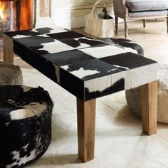 Charmant Flora Cow Skin Coffee Table