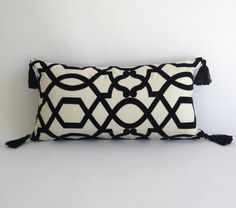 NEW! Geometric Lumbar Pillow Cover - Black and White Lumbar Cushion Cover with Tassels, Textured Black and White Velvet, Glam Style Decor