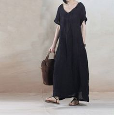 cotton linen loose fitting dress - Buykud
