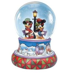 Amazon.com: Jim Shore Disney Traditions Mickey Caroling Waterglobe Mickey Minnie Donald Daisy: Home & Kitchen