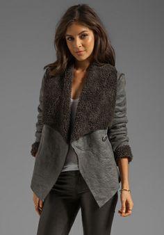 BB DAKOTA Gillian Faux Fur/Suede Jacket in Charcoal - BB Dakota