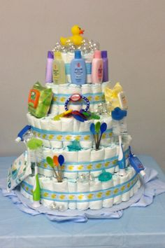 Rubber Ducky Baby Shower Diaper Cake