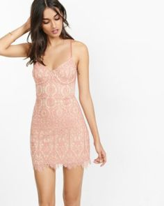 Pink And Tan Lace Corset Sheath Dress Express