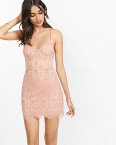 pink and tan lace corset sheath dress