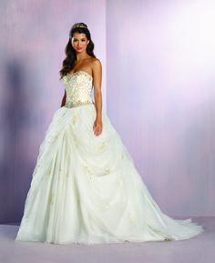 Stunning ivory and gold Princess Belle inspired wedding dress from 2016 Disney's Fairy Tale Weddings by Alfred Angelo Collection