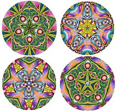 4 kaleidoscopes from Irene Cormans Cane CarolSimmonsDesigns.com