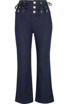See by Chloé - Cropped Lace-up High-rise Flared Jeans - Dark denim - 31