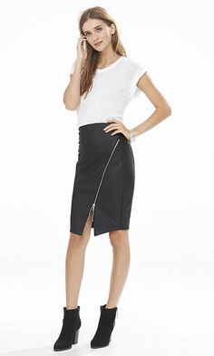 (minus The) Leather Asymmetrical Pencil Skirt | Express