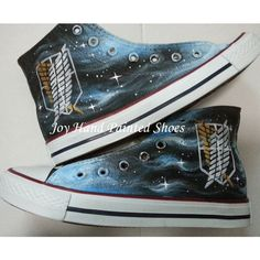 Attack on Titan Anime Converse Custom Painted Hi Top Canvas Attack on Titan  Shoes Converse Sneakers Hand Painted Shoes Black Canvas c5aab34c7413