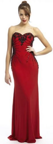 Elegant and classy full length red and black prom dress