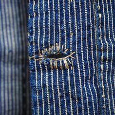 Buttonhole | Stitch detail | Rough mending | Indigo striped cloth