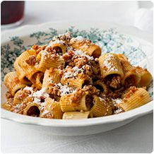 """Any short, tubular pasta will work with this meaty ragù. We used sedanini (""""little celery"""") on the cover, but easier-to-find rigatoni and penne are great, too."""