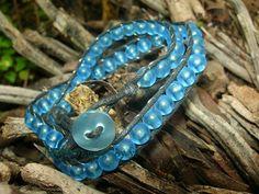 handmade #bracelet : wrap bracelet - synthetic leather / resin bead